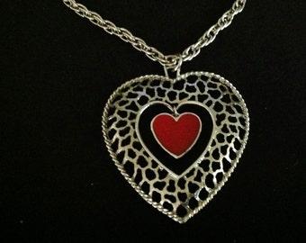 Vintage Filigree Heart w/ Dangling Red Enamel Heart Necklace