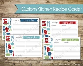 Custom Kitchen Themed Recipe Cards