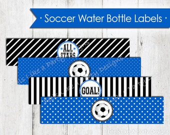 Blue Soccer Water Bottle Wrappers - Instant Download