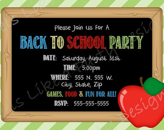 Back to School Custom Party Invite