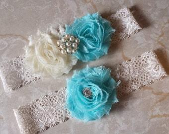 Something Blue/Ivory Wedding Garter -  Bridal Garter Set  -Blue and Ivory Chiffon Flowers - Pearl Rhinestone embellishment...