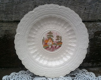 """Spode Jewel COW Plate, 9"""" Serving, Dinnerware, Red/Pink Transferware, Farm Animals, Wall Decor, Grazing Cows and Cottage, Kitchen Decor,"""
