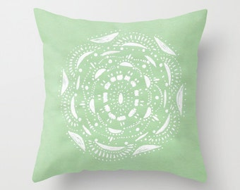 Mint Green and White Throw Pillow Cover, pastel pillow cover, mint pillow cover, mint pillow case, throw pillow cover, mint green pillow