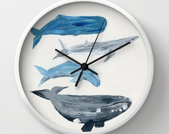 Whale Wall Clock, whale clock, beach house clock, nautical clock, ocean clock, sea clock, watercolor clock, nature clock, modern clock