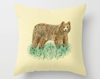 Bear Throw Pillow Cover, bear pillow, nursery pillow, woodland pillow, nature pillow, forest pillow, woods pillow, woodland nursery