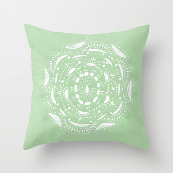Items similar to Mint Green and White Throw Pillow Cover, pastel pillow cover, mint pillow cover ...