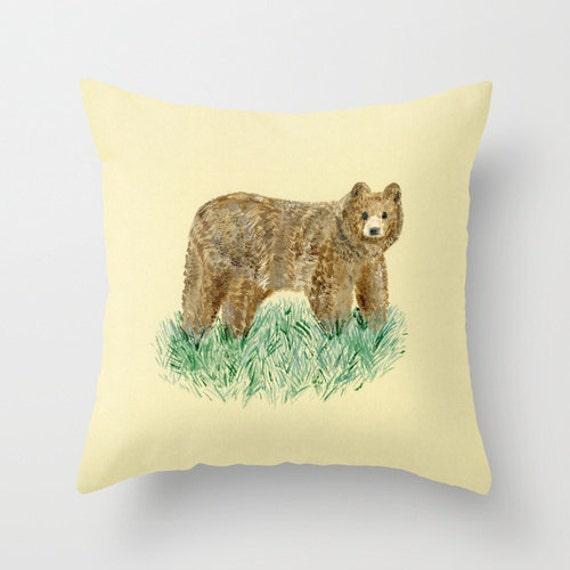 Bear Throw Pillow Covers : Bear Throw Pillow Cover bear pillow nursery pillow woodland