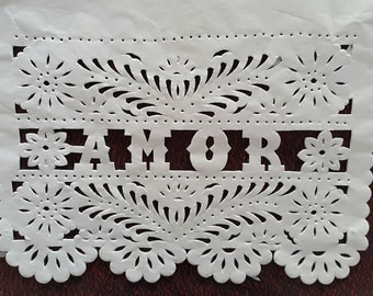 "5 lines / 50 flags Papel Picado ""AMOR"" Mexican Bunting Cut out paper for weddings (5 lines of 10 flags/ total 50 flags)"