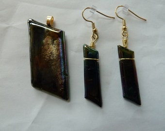 Dichroic Glass Pendant and Earring Set