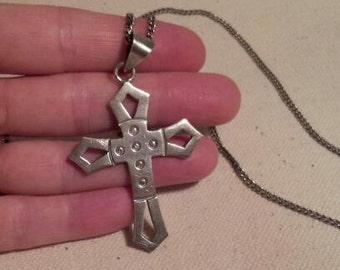 Silver cross pendant necklace / Mexico silver .925 / Mexican cross on chain / vintage silver cross / Southwestern style jewelry