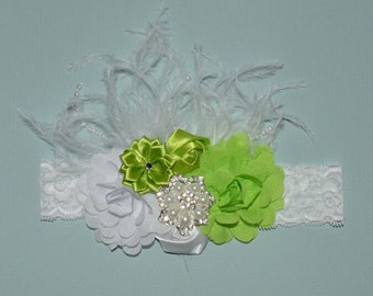 Fairy Princess Green and White Flower Boutique Headband Baby Toddler Headband Flower Girl New Years Glitter Lace Ostrich Feathers