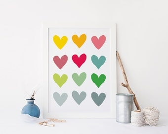 Colourful heart art - printable 8x10 print - love heart pattern - gift for couples