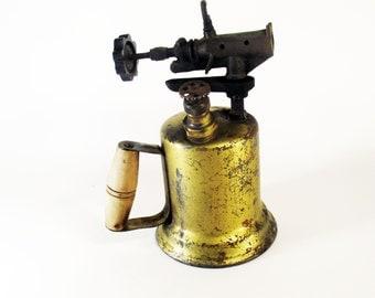 Vintage Blow Torch, Tools, Industrial, Brass, Cast Iron, Metal Work