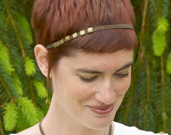 Headband hair headband chain jewel ball triple rings sliding brass bronze