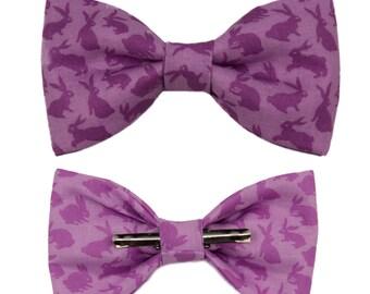 Purple Rabbits Clip On Bow Tie Bowtie Men / Boys
