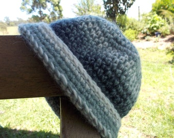 crocheted hat with brim made from pure wool yarn ON SALE