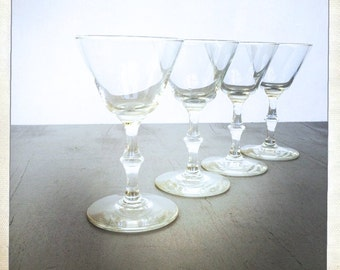 vintage 4oz sherry glass cordial aperitif stemmed faux bamboo retro set of 4