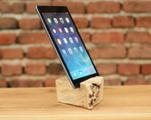 SALE - Woodwork Burl Wood iPad Stand iPhone 6 Station Wooden iPad/ Tablet Docking Station iPhone wood station Live edge holder