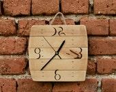 Wooden Art Clock Handmade wooden Clock Wall hanging Clock Recycled wood Clock Lime wood Clock