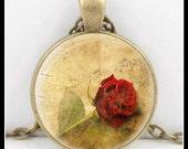 Rose Pendant, Art Pendant, Music Pendant, 30mm Bronze Pendant, Wearable Art Pendant - P-KM-2