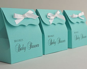 Beautiful Personalized Blue Favor Bags (15) With Ribbon Baby Shower