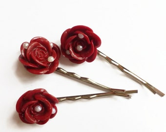 Wine hair flower, hair slides, flower hair pins, wine bobby pins, UK shop