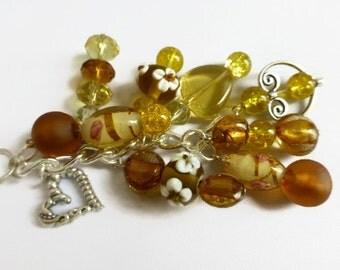 Yellow detachable key chain, purse charms, rear view mirror charms, handbag charms, yellow beaded key chain, clip on charms, heart key chain