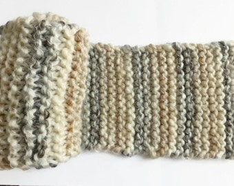 Beige cream knit scarf, muffler scarf, mens brown scarf, fashion scarf, garter knit scarf, winter scarves for women, knitting scarf,