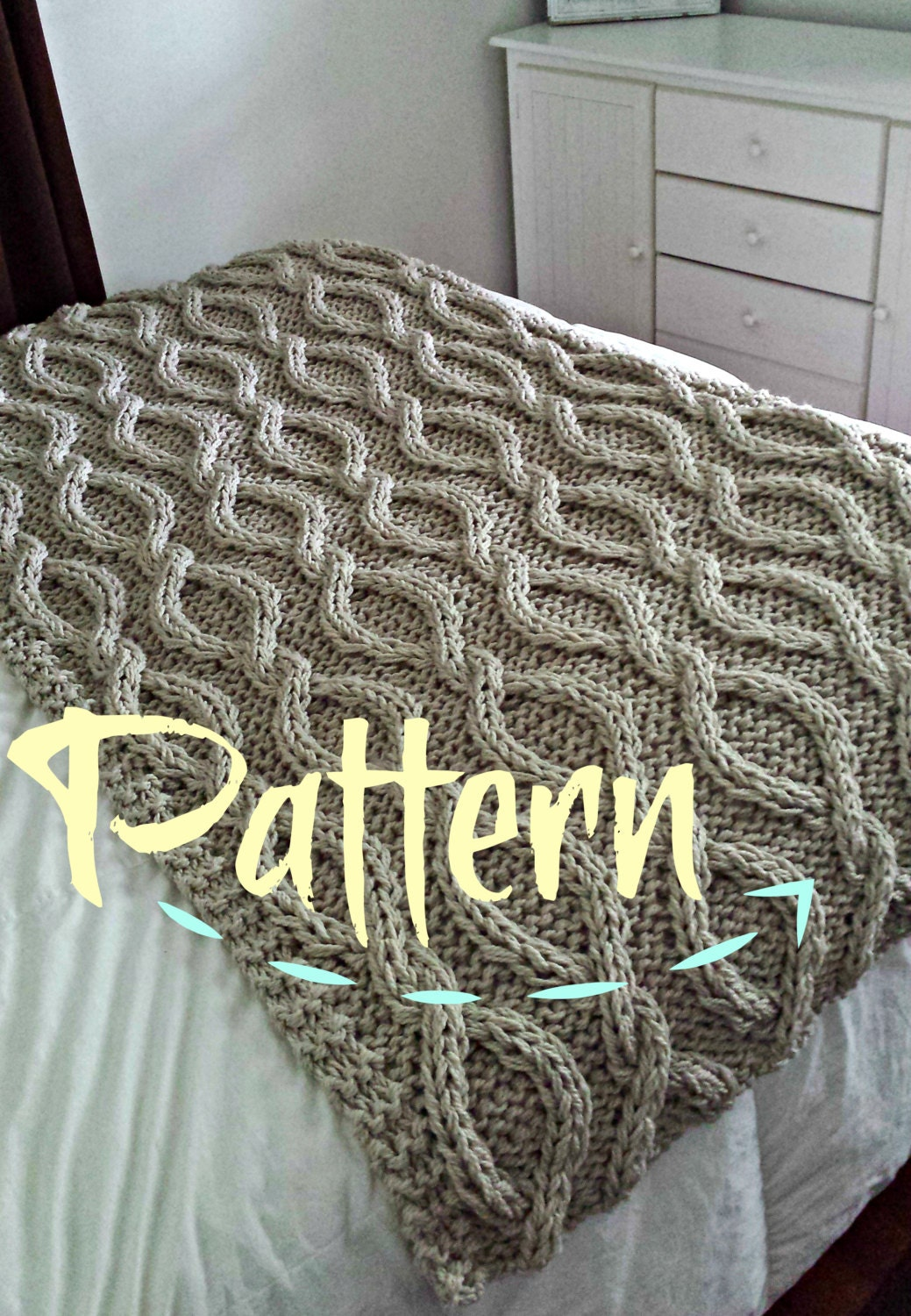 Cable Knit Throw Pattern : Infinity Cable Knit Blanket PATTERN by OzarksMomma on Etsy