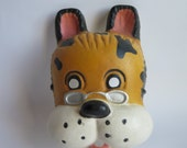 vintage french dog mask, Fantastic Rare 1970's french Factory Made Animal Head Mask,  home decor, vintage  kids room