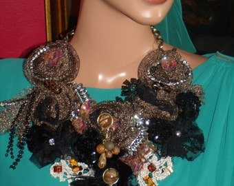 Textile Bronze Tulle  Necklace  Handmade Beaded Necklace Collar  Statement  Personalized
