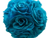 """9"""" Turquoise Pacific Blue Silk Rose Flower Pomander Kissing Balls Wedding Pew Decoration Baby Shower Party Decor"""