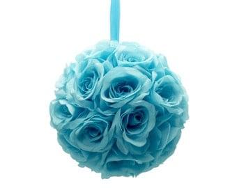 "9"" Malibu Blue Silk Rose Flower Pomander Kissing Balls Wedding Pew Decoration Baby Shower Party Decor"