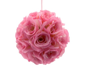 "9"" Ballet Pink Silk Rose Flower Pomander Kissing Balls Wedding Pew Decoration Baby Shower Party Decor Valentine's Day"