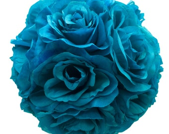 "9"" Turquoise Pacific Blue Silk Rose Flower Pomander Kissing Balls Wedding Pew Decoration Baby Shower Party Decor"