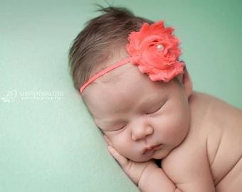 FREE SHIPPING! Newborn Headbands, Coral Headband, Coral Baby Headband, Baby Girl Headband, Baby Headbands