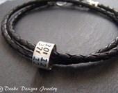 Personalized mens leather bracelet latitude longitude bracelet anniversary Gifts for Men or for her