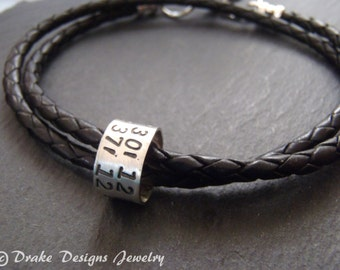 Personalized mens leather bracelet latitude longitude bracelet anniversary Gifts for Men or for her