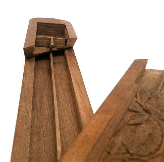 Pencil box plumier vintage carved wood puzzle