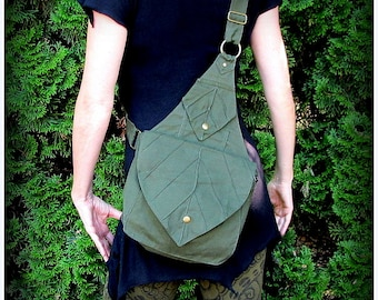 Leaf Bag Backpack Book Messenger Purse ~ Green Brown Black Canvas ~ Elven Forest  LARP Legend of Zelda Link Elf Garb  Yule