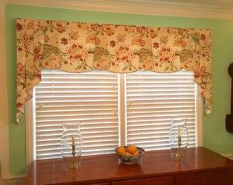 "Custom Valance PEYTON Hidden Rod Pocket® Valance, pleated jabots fits 46""- 66"" window,Window treatment made using your fabrics, my lining"