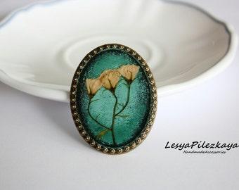 Big beautiful brooch with campanula - green brooch