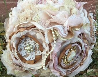 Vintage lace fabric bouquet, fabric flower bouquet, blush and gold fabric bouquet