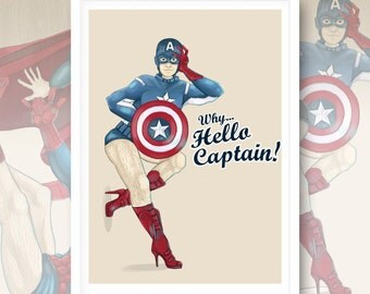 Why... Hello Captain! - Captain America  PinUp Artwork Print Giclee Art.
