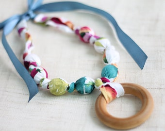 Fabric Necklace with Wood Ring Pendant,Teething Necklace, Chomping Necklace, Nursing Necklace - Watercolor Floral