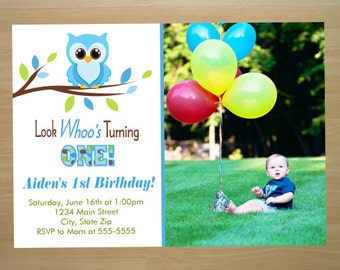 Owl 1st Birthday Invitation - Digital File (Printing Services Available)