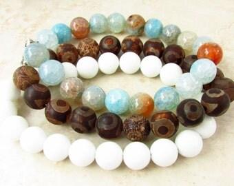 Stacking Bracelets, Bracelet Set, Boho Bracelet, Chunky Bracelet, Stackable Bracelet Set, Gemstone Bracelet, Valentines Gift, Agate Bracelet