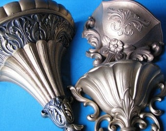 Hollywood Regency Style Wall Sconces - Set of 3  - Antique Gold Wall Pockets -  Vintage 1960's