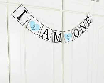 FREE SHIPPING, I am One Birthday banner, I am 1 Garland, 1st Birthday sign, Birthday decoration, Birthday photo prop, Cake smash banner,Blue
