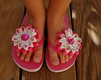Girls Flip Flops with Matching Bow